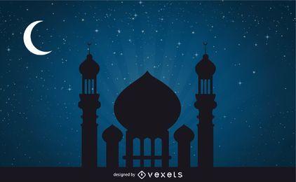 Mezquita en la noche de la luna impresionante
