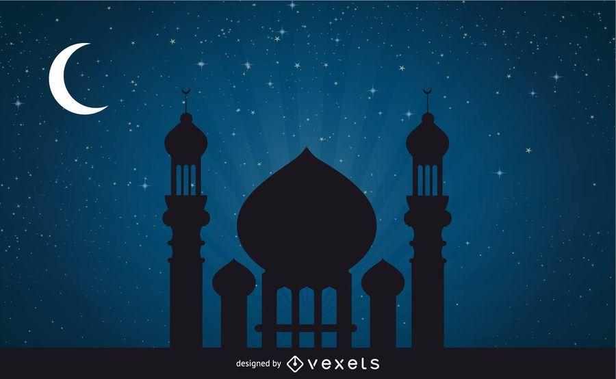 Mesquita em noite de luar impressionante