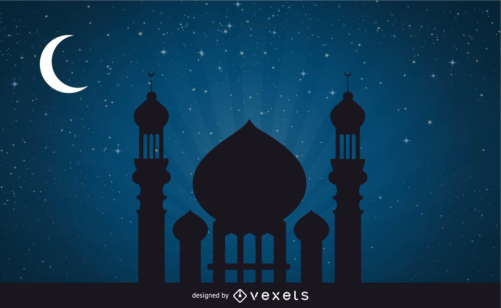 Mosque in Stunning Moonlight Night