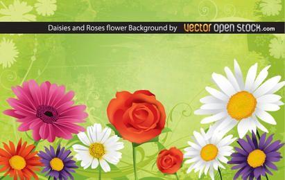 Fondo de flores de margaritas y rosas