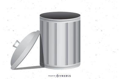 Trash Can Gray Metallic