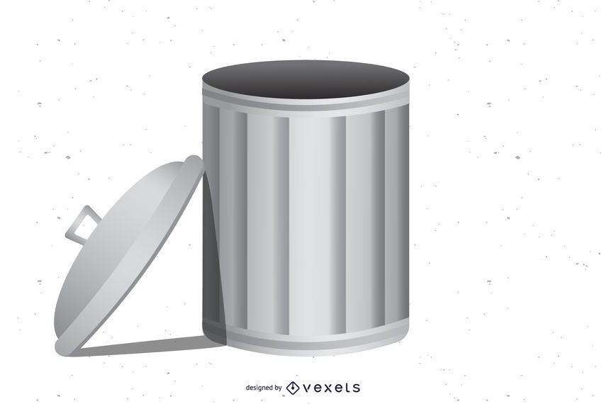 Bote de basura gris metalizado