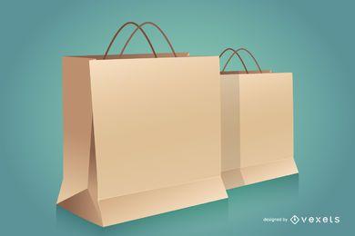 Mockup para sacos de compras de papel