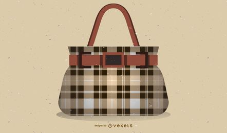 Checkered Handbag Illustration Design