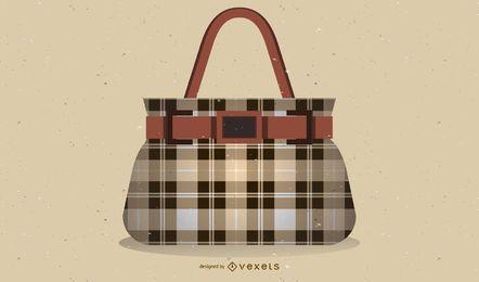 Design de ilustração de bolsa quadriculada