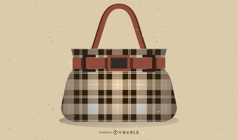Checkered Handbag Illustration Design