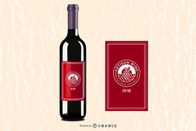 Garrafa de vinho brilhante com etiqueta