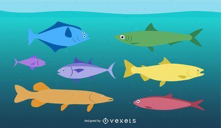 Vetor de peixes tropicais