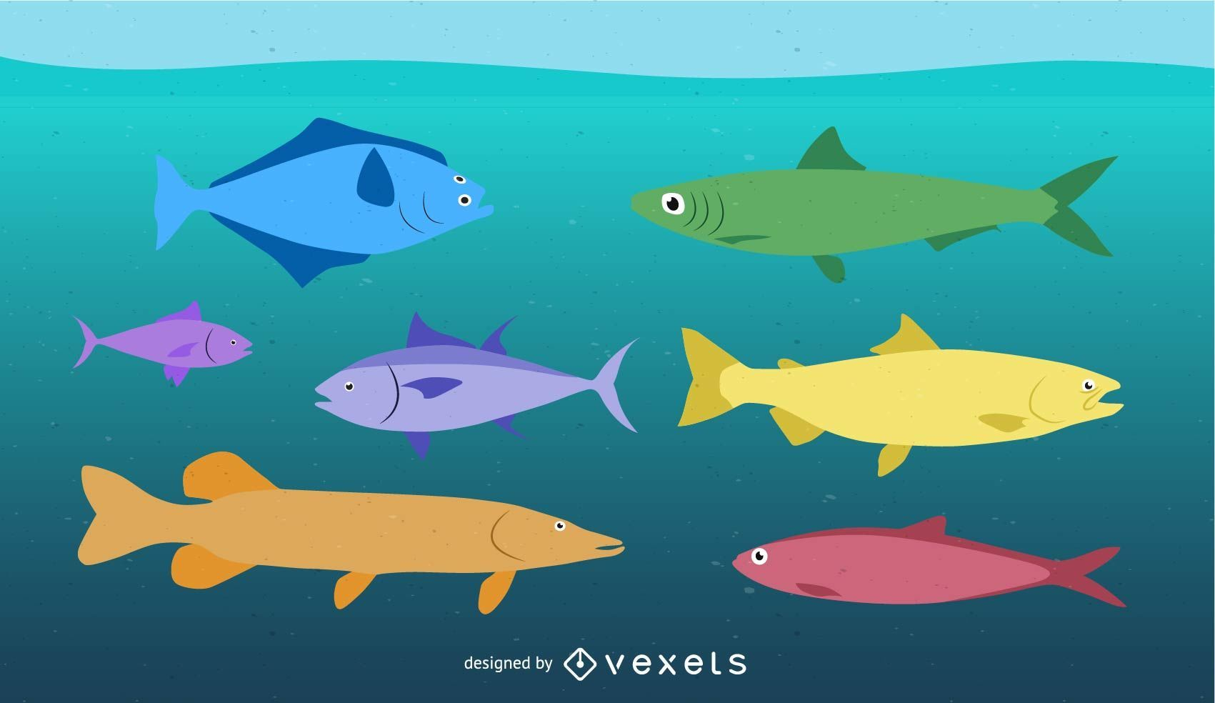 Tropical fishes vector