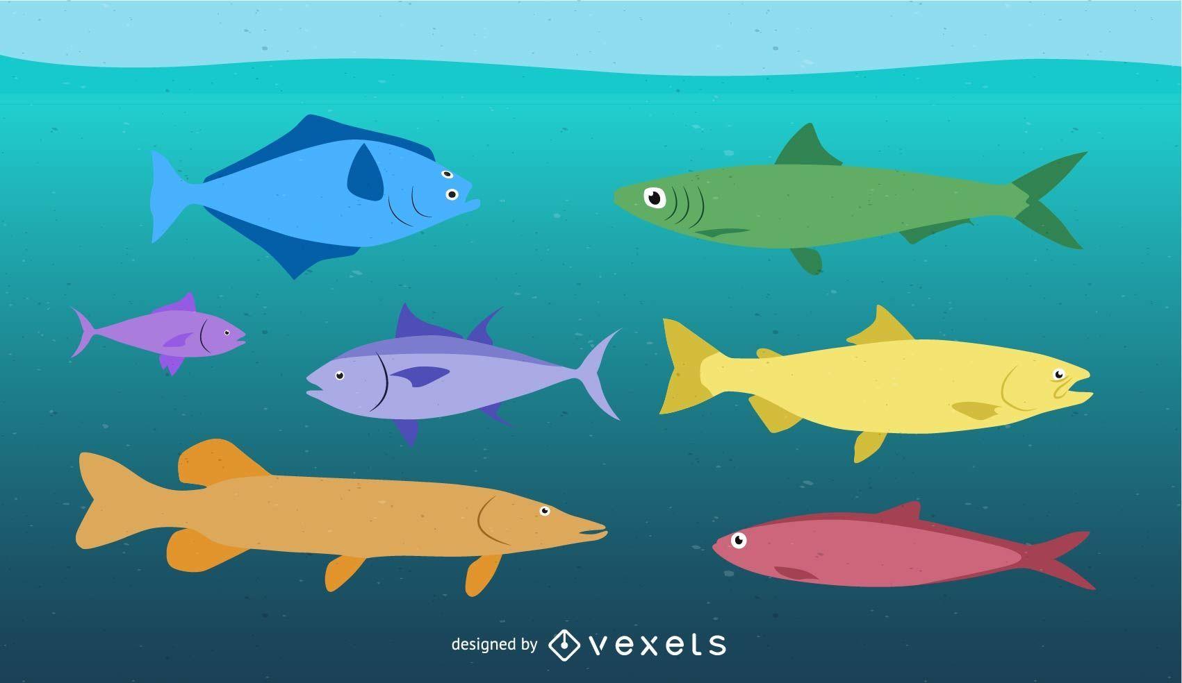 Vector de peces tropicales
