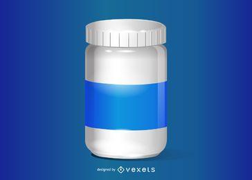 Ilustración realista de la botella de pastillas
