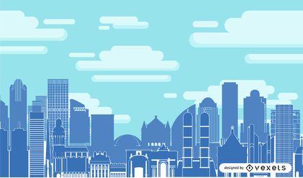 Ciudad azul con edificio de gran altura