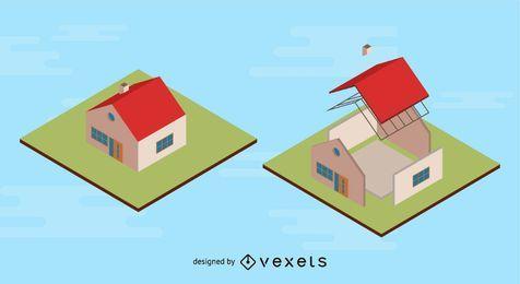 Haus mit extrahiertem Teil