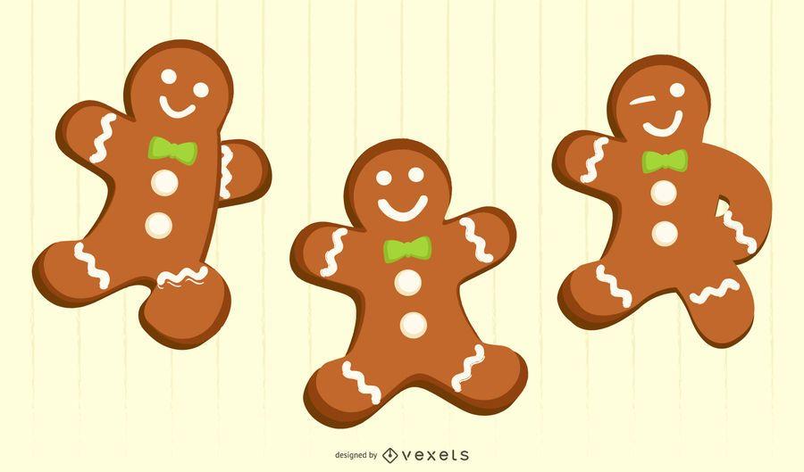 three gingerbread men for christmas cards / koekmannen voor kerstkaarten