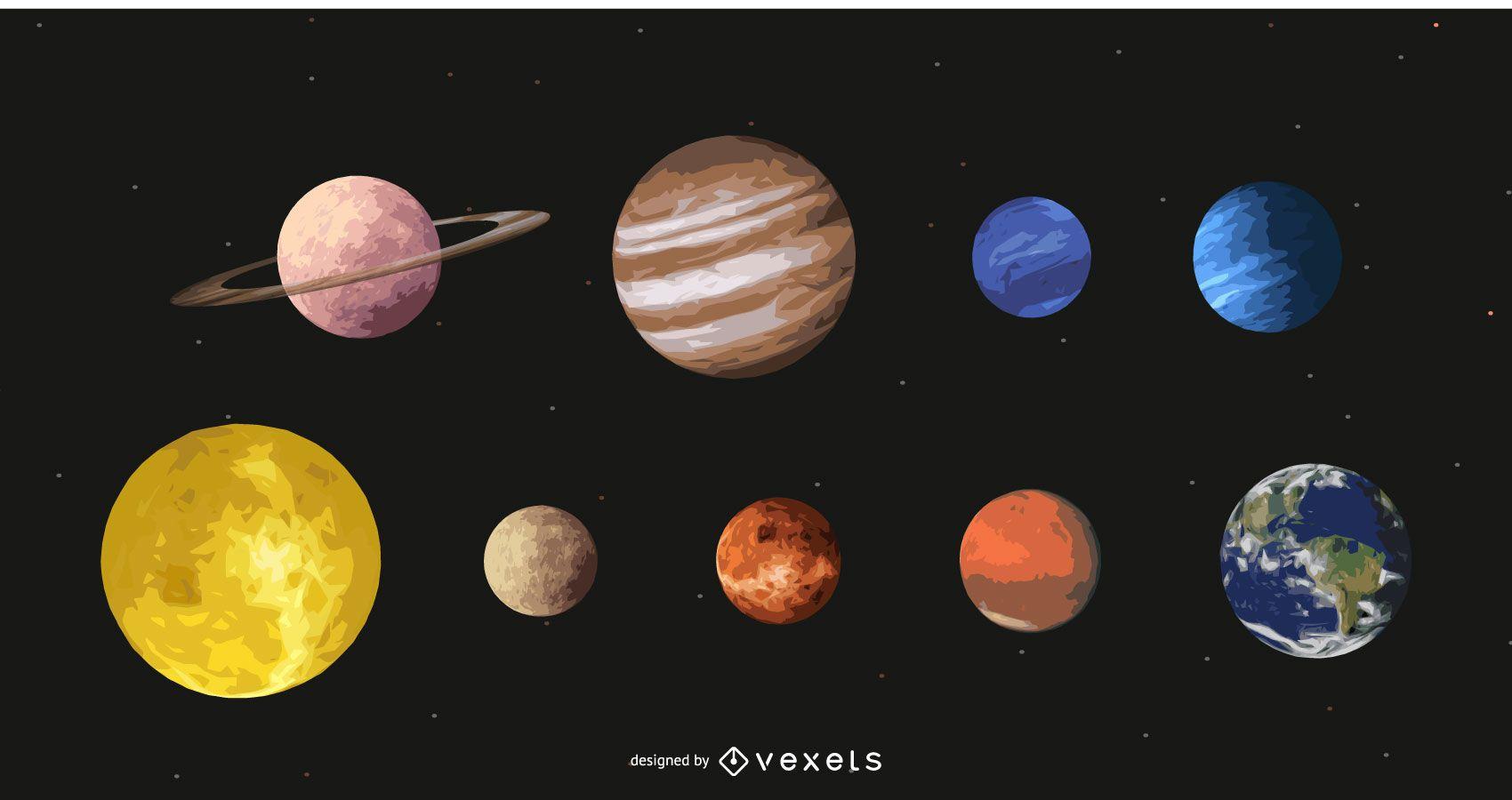 Hermosa atmósfera de planeta solar