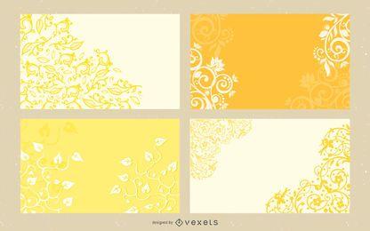 Paquete de diseño floral rizado y remolinos
