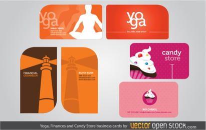 Tarjetas de visita de Yoga, Finanzas y Candy Shop.
