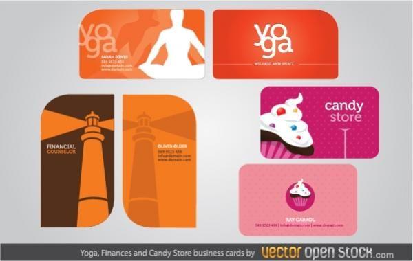 Visitenkarten für Yoga, Finanzen und Süßwarenladen