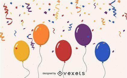 Ballons und Luftschlangen im glücklichen Moment