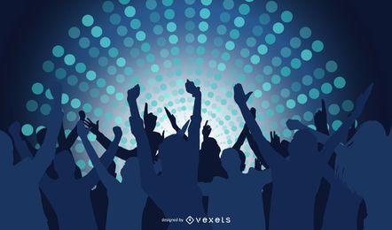 Fondo de discoteca con pueblos felices