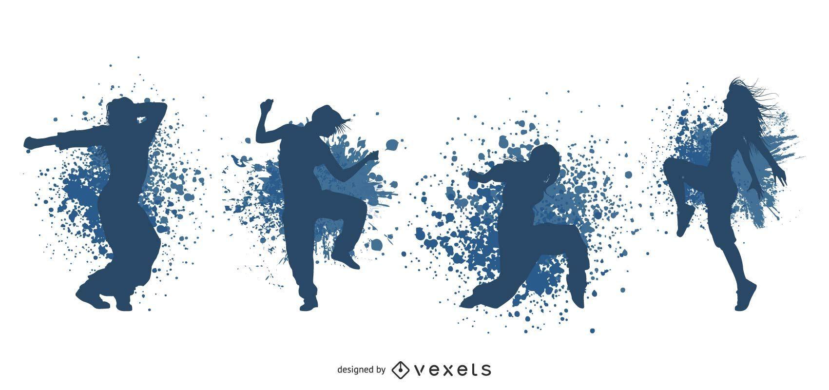 Grungy silueta bailando personas
