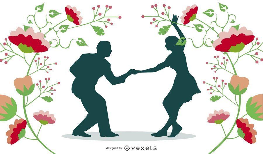 Casal feliz dançando com quadro de natureza