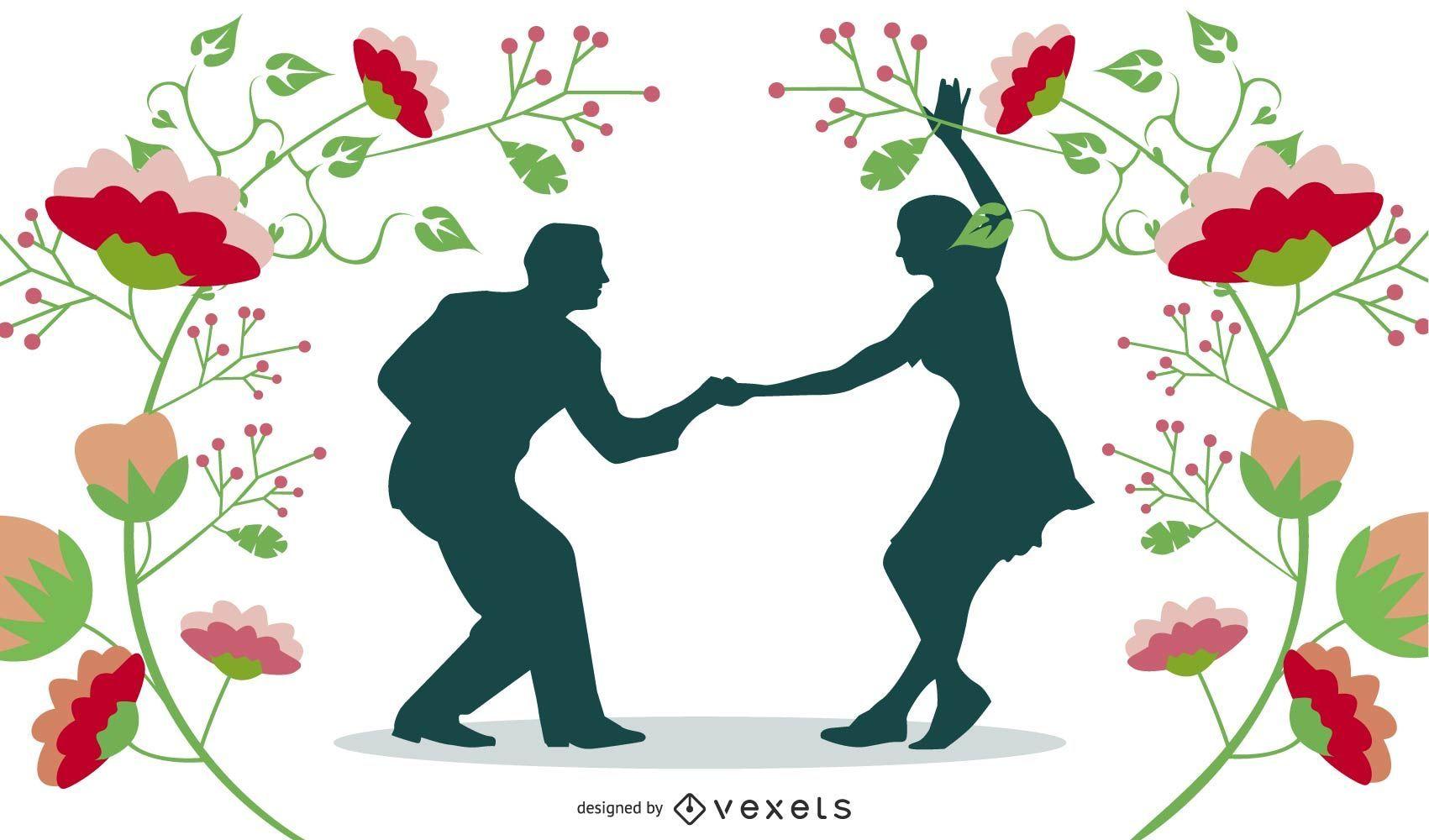 Feliz pareja bailando con marco de naturaleza