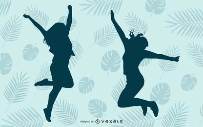Happy Girl Jumping Blue Silhouette