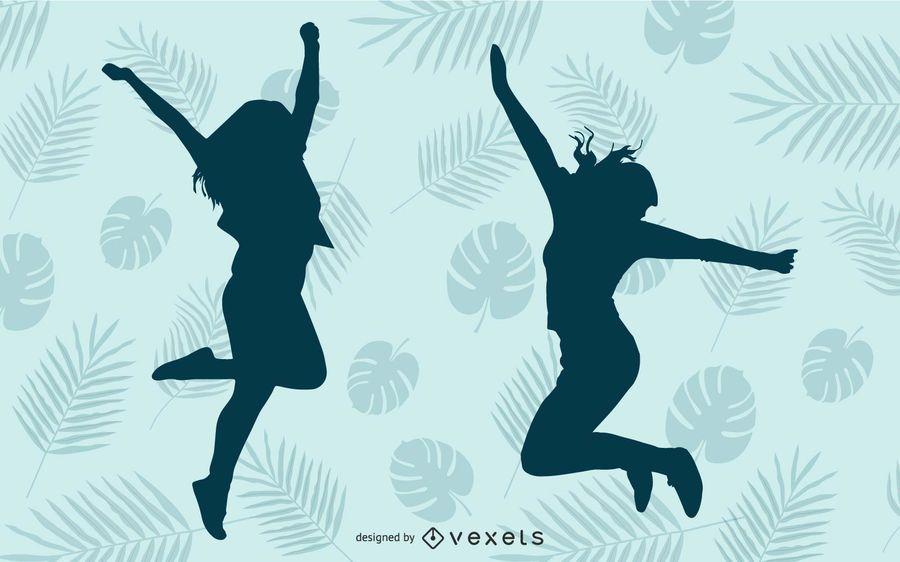 Garota feliz pulando silhueta azul