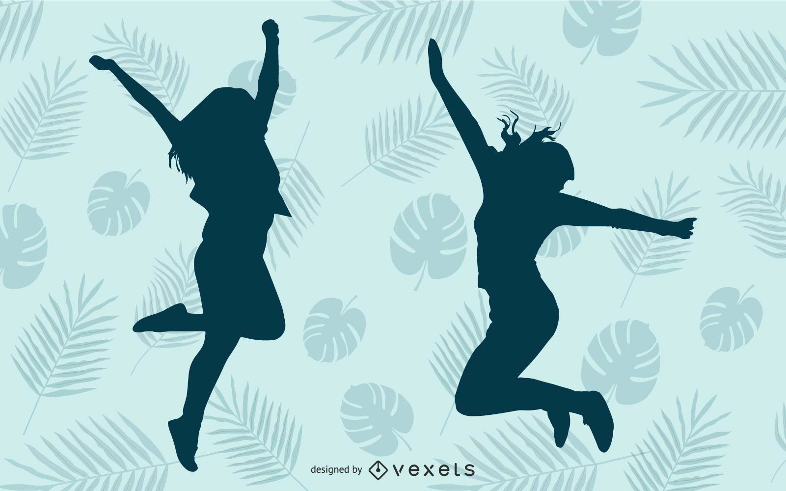 Menina feliz pulando silhueta azul