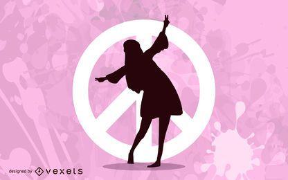 Garota dançando sobre o símbolo da paz