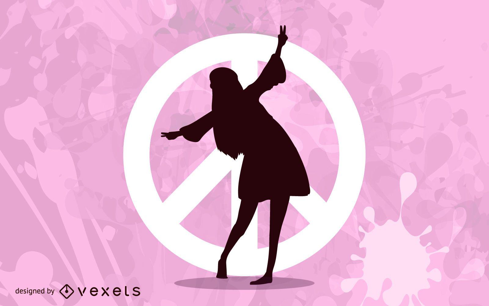Chica bailando sobre el símbolo de la paz
