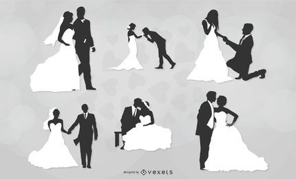 Pacote de casal de casamento preto e branco