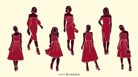 Fashionable Woman Silhouette Pack