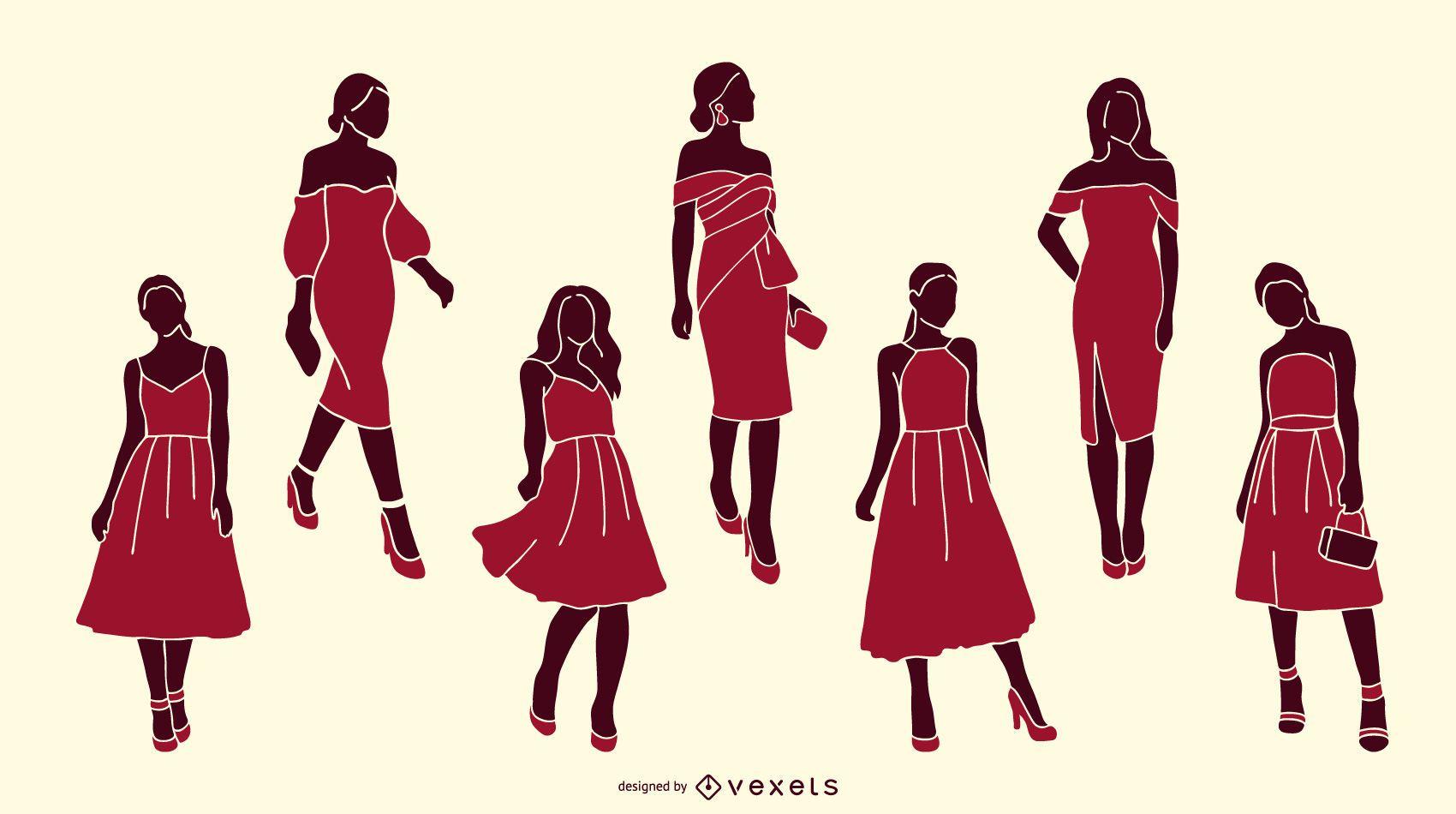 Pacote de silhuetas de mulheres elegantes