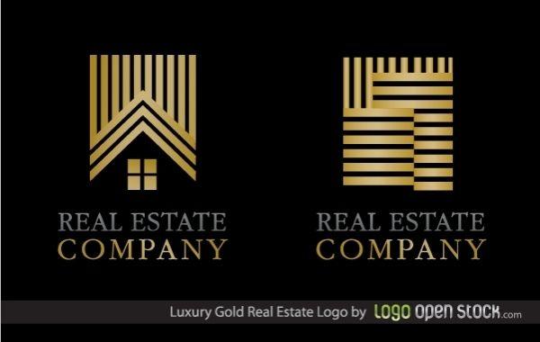 Logotipo de bienes raíces de oro de lujo