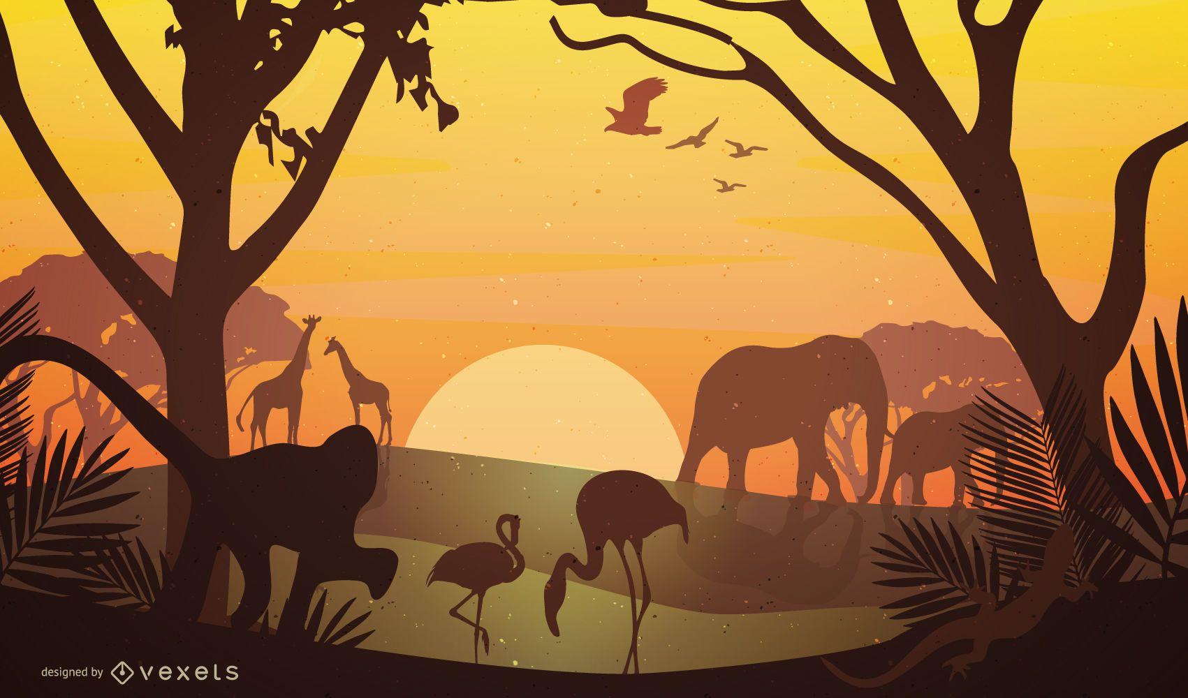 Vista do pôr do sol no Safari