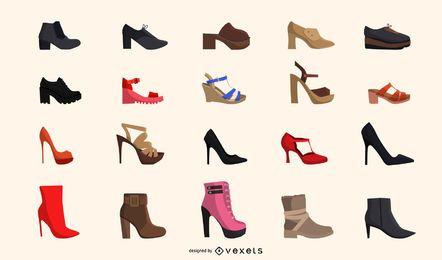 Conjunto de sapatos femininos elegantes