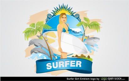 Emblema de garota surfista