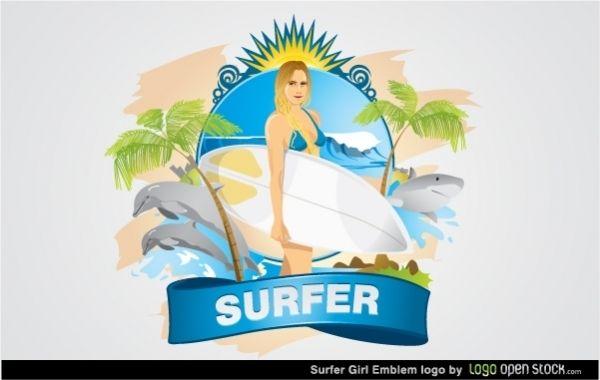 Emblema de chica surfista