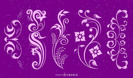 Paquete de elementos de diseño floral