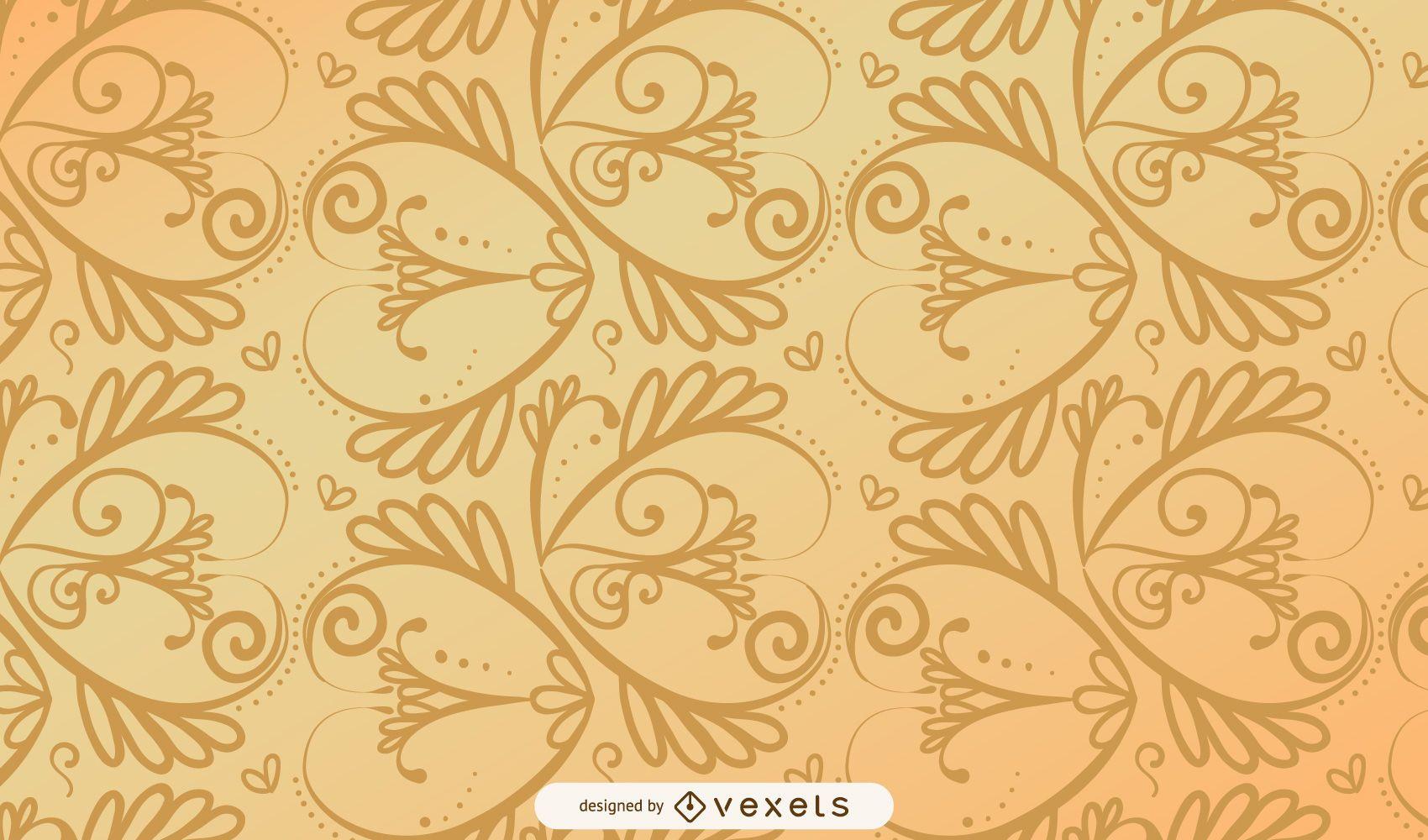 Patrón Vintage dorado espiral transparente