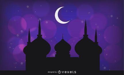 Diseño de saludo púrpura para el santo Ramadán