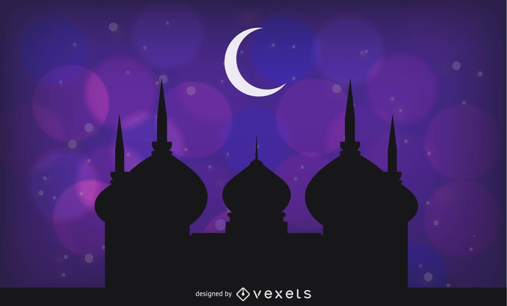 Purple Greeting Layout for Holy Ramadan