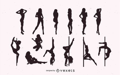 Mädchen tanzen Striptease Pack Silhouette
