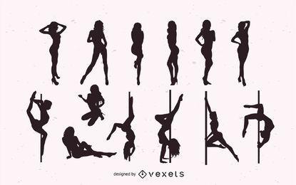 Meninas, dançar, striptease, pacote, silueta