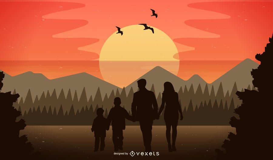 Naturaleza de la tarde con la familia feliz