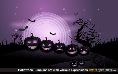 Abóboras de Halloween conjunto com várias expressões