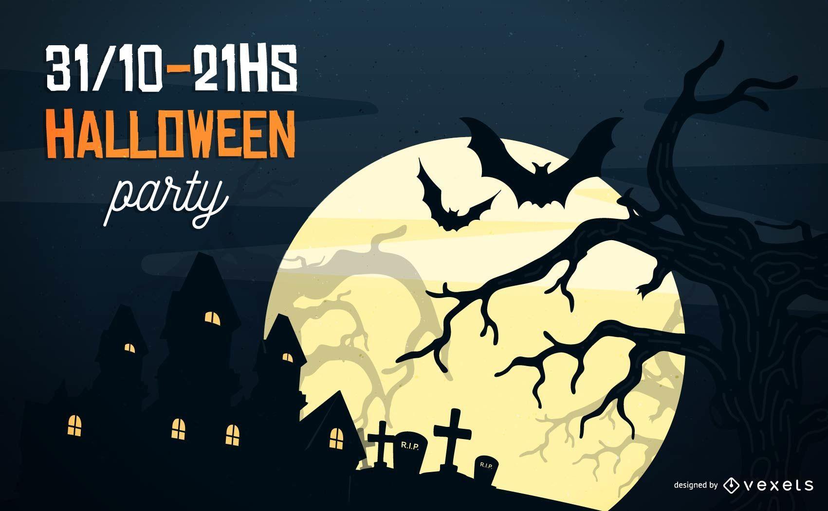 Plantilla de volante de noche de Halloween estacional