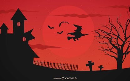 Disposición de Halloween rojizo